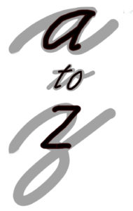 """Image of cursive phrase """"a to z"""" overlaid with italic print letters of the same phrase"""
