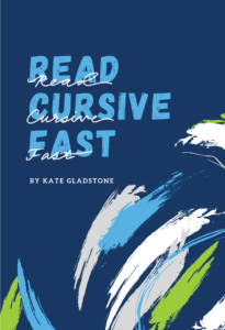 "Book cover saying ""Read Cursive Fast"""