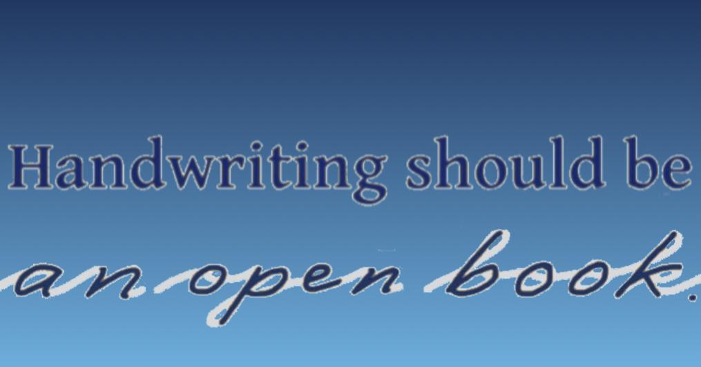 "Slogan ""Handwriting should be an open book."""