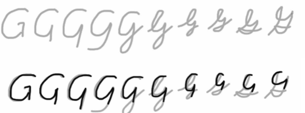 "how cursive letter 'G"" happened"